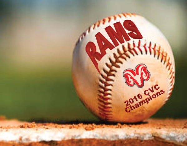 Closeup of baseball with FCC Rams logo