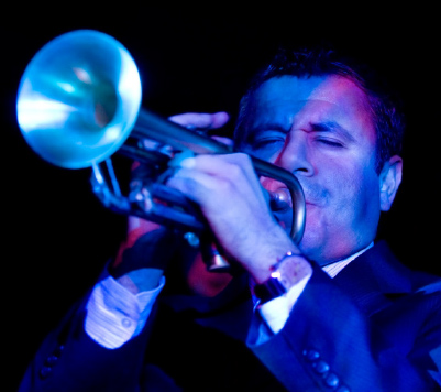 Gilbert Castellanos playing the trumpet