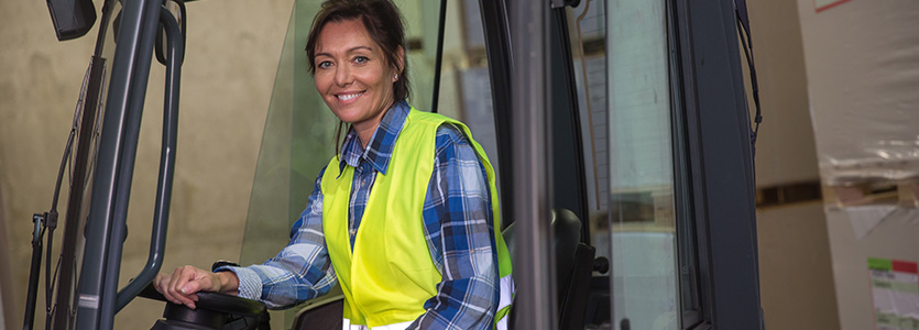 woman forklift driver