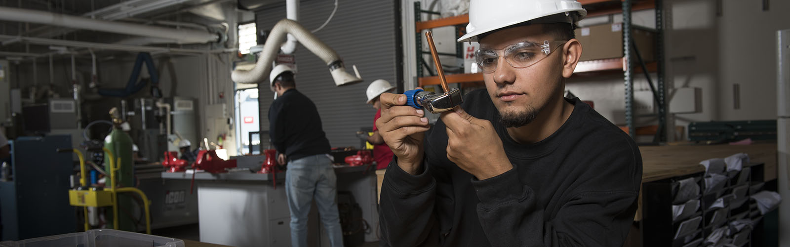 student working in air conditioning